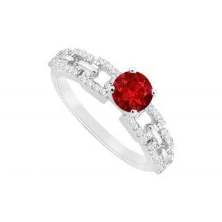 LoveBrightJewelry July Birthstone Ruby CZ Engagement Ring 14K White Gold