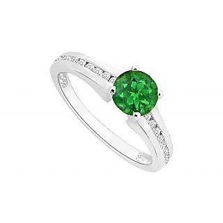Ideal May Birthstone Emerald & CZ Engagement Ring In 14K White Gold