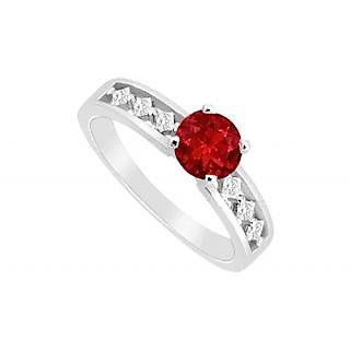 LoveBrightJewelry Jazzy July Birthstone Ruby & CZ Engagement Ring 14K White Gold
