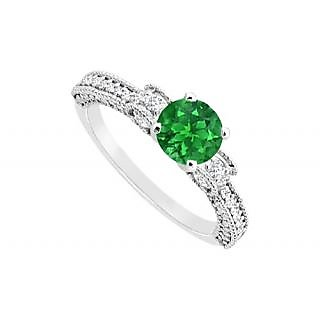 LoveBrightJewelry May Birthstone Emerald CZ Milgrain Engagement Ring 14K White Gold