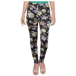 Diamond Fashion Multi Color Floral Printed Cotton Lycra Leggings for Girls/Women