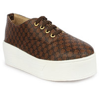 Do Bhai Women's Brown Sneakers