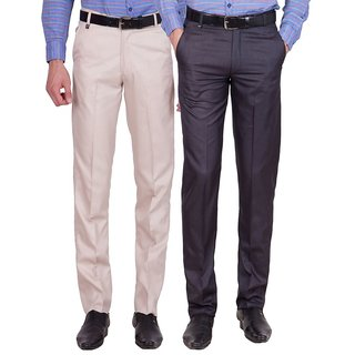 Cliths Men's Cotton Blend Formal Trouser- Pack of 2
