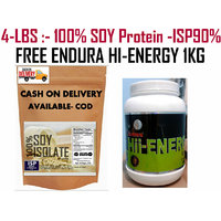 4LBS -Pure Soy Protein Isolated 90% -UNFLAVOR -FREE ENDURA HI-ENERGY 1KG