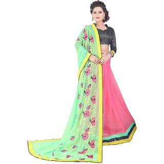 Saree Shop Turquoise Georgette Embroidered Saree With Blouse