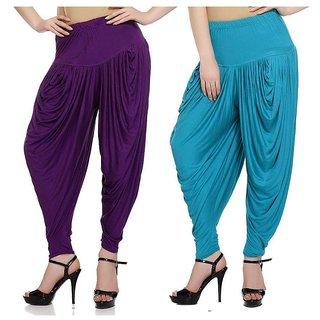 DF Pack of 2 Combo Plain Cotton Dhoti-Sky Blue, Purple