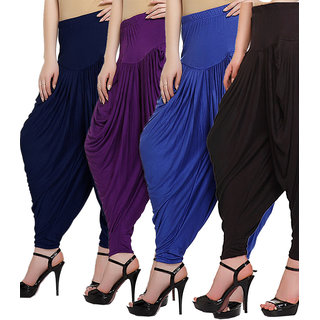 DF Pack of 4 Combo Plain Cotton Dhoti-Black, Navy, Purple, Violet