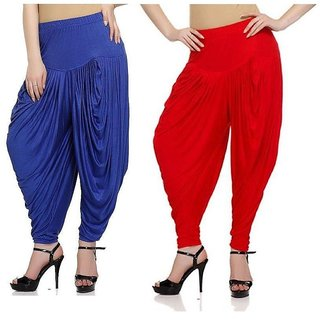 DF Pack of 2 Combo Plain Cotton Dhoti-Red,Navy