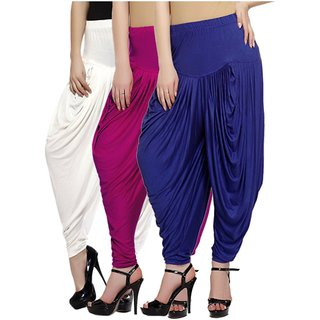DF Pack of 3 Combo Plain Cotton Dhoti-Navy,Pink,White