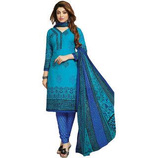Drapes Blue Cotton Printed Salwar Suit Dress Material