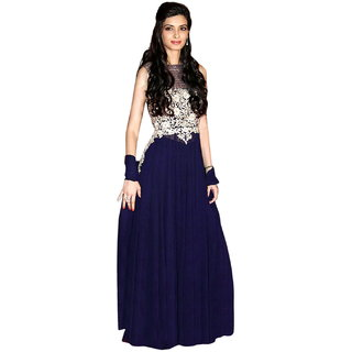 Surat Tex Blue Colored Georgette Embroidered Party Wear Semi-Stitched Anarkali Suit-K65DL1048
