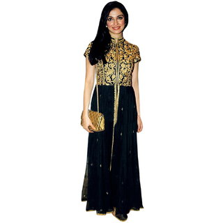 Surat Tex Black Colored Georgette Embroidered Party Wear Semi-Stitched Anarkali Suit-K66DL1049