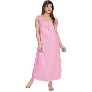 Be You Fashion Women Cotton Baby Pink Solid Nightgown