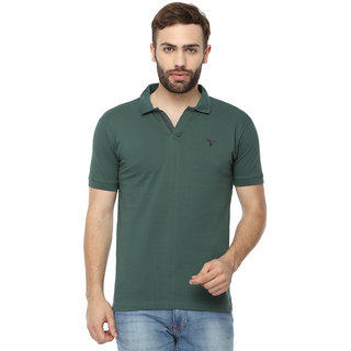 Youthen Clothing Co. Cotton Polo Neck Green T-Shirt