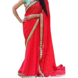 SuratTex Red & Turquoise Georgette Embroidered Saree With Blouse