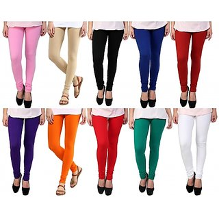 Aashish Garments Pack of 10 Cotton Lycra Leggings