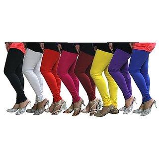 Aashish Garments Pack of 8 Cotton Lycra Leggings