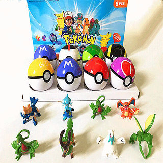 POKEMON BALLS WITH RANDOM TOY SET OF 8 BALLS (MULTI COLOUR )