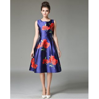 Ladyview Navy Blue  Red Printed Heavy Satin Stitched Kurti