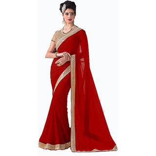 Bhuwal Fashion Red Georgette Lace Saree With Blouse