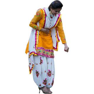 SuratTex Yellow And White Cotton Embroidered Kurta & Patiyala Dress Material