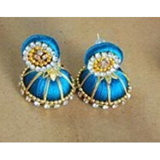 DIYA SILK THREAD JHUMKAS (BLUE)
