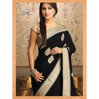 Thankar online trading Beige & Black Georgette Embroidered Saree With Blouse