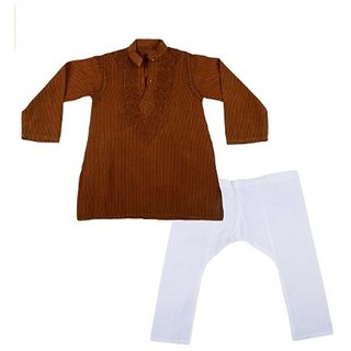 The Jainas Boys' Cotton Kurta and Pyjama Set Brown