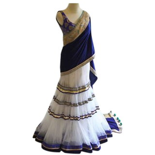 Surat Tex White  Blue Color Party Wear Semi-Stitched Embroidered Soft Georgette Net Lehenga Choli With Heavy Designer B