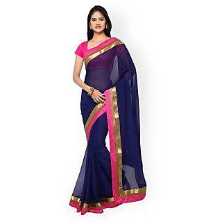 Women Navy Blue Chiffon Embellished Saree