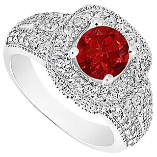LoveBrightJewelry Natural Ruby & Diamond Milgrain Engagement Ring In 14K White Gold