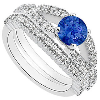 Natural Sapphire Engagement Ring With Diamond Wedding Band In 14K White Gold