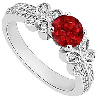 Captivating Natural Ruby & Diamond Engagement Ring In 14K White Gold