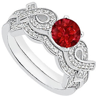 Natural Ruby Engagement Ring In 14K White Gold Ribbons With Diamond Band