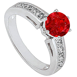 LoveBrightJewelry Natural Ruby & Princess Diamond Engagement Ring In 14K White Gold