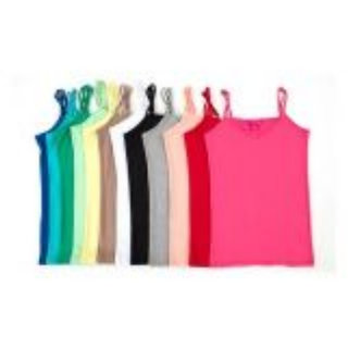 8 PC GIRLS COTTON  CAMISOLE ASTD COLOR WIDTH 28 INCH