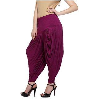 Diamond Fashion Pink Color  Full Length Plain Cotton Dhoti Pants For Women
