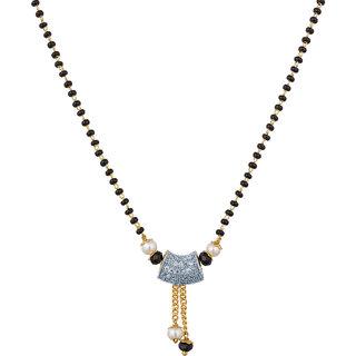 The Luxor Australian Diamond  Multicolor Pearl Studded Daily Wear Mangalsutra