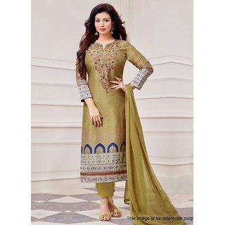 RapidDukan Un-Stitched Beige Color Printed  Embroidered Salwar Suit Dupatta MaterialsSF821