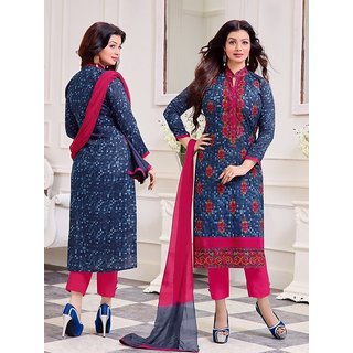 RapidDukan Un-Stitched Dark Blue Color Printed  Embroidered Salwar Suit Dupatta Materials.SF820