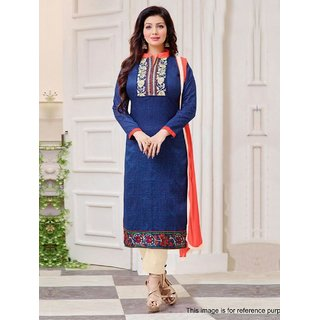 RapidDukan Un-Stitched Blue Color Printed  Embroidered Salwar Suit Dupatta MaterialsSF822