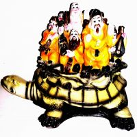 Laughing Buddha Family On Tortoise Statue Feng Shui Multi-Color Poly Marble Finish 25 Cm 1.7 Kg Auspicious God Of Wealth