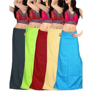 BFAB Women's Cotton Petticoat (Pack of 5, Multi Colour, XL)