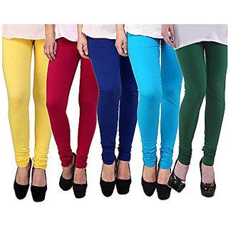 Aashish Garments Pack of 5 Cotton Lycra Leggings
