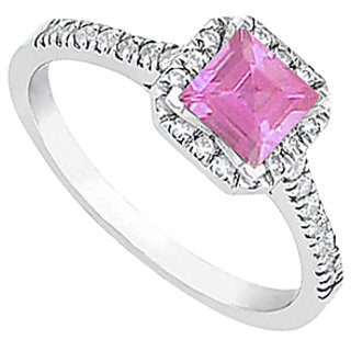 LoveBrightJewelry Pink Sapphire & Diamond Halo Engagement Ring In 14kt White Gold