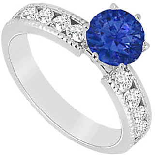 In Trend September Birthstone Sapphire & CZ Engagement Ring In 14K White Gold