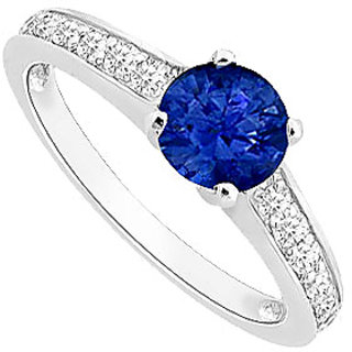 Charismatic September Birthstone Sapphire & CZ Engagement Ring In 14K White Gold
