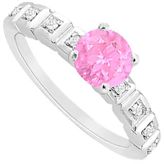 September Birthstone Pink Sapphire & CZ In 14kt White Gold Engagement Ring