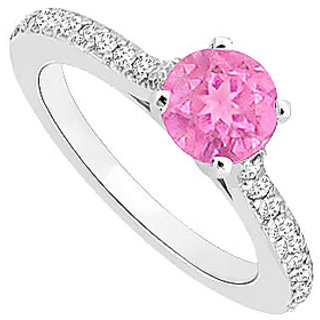 Trendy September Birthstone Pink Sapphire & CZ Engagement Ring In 14K White Gold