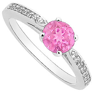 Swell September Birthstone Pink Sapphire & CZ Engagement Ring In 14K White Gold